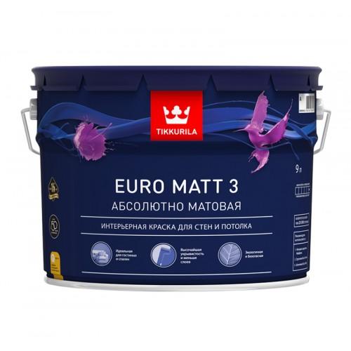 Краска Euro Matt 3 д/стен и потолков г/м База С 9.0 л